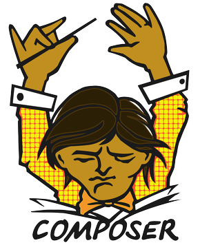 The Composer Official Logo: a male orchestra conductor with both arms in the air and his head tilted down, reading music sheets